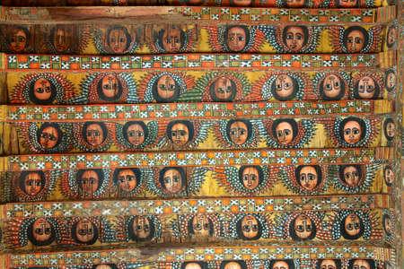 Unieke plafondschilderingen in Debre Birhan Selassie kerk, Gondar, Ethiopië.