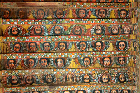 Unique ceiling paintings in Debre Birhan Selassie church, Gondar, Ethiopia.