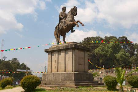 winning location: Addis Ababa, Ethiopia - January 18, 2010 : Menelik II equestrian statue in Addis Ababa, Ethiopia.