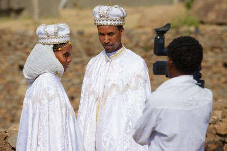 Axum, Ethiopia, January 24, 2010 - People do wedding photography in traditional dresses in Axum, Ethiopia. Editorial