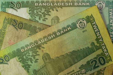 mundo contaminado: Billete de 20 Taka, Bangladesh. Billetes de Bangladesh están entre los más sucios, los contaminados del mundo.