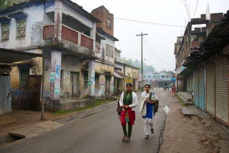 illiteracy: Puthia, Bangladesh, February 16, 2014 - Teenagers go to school in Puthia, Bangladesh. Young female age 15-24 illiteracy rate in Bangladesh is 80% (data by UNICEF).