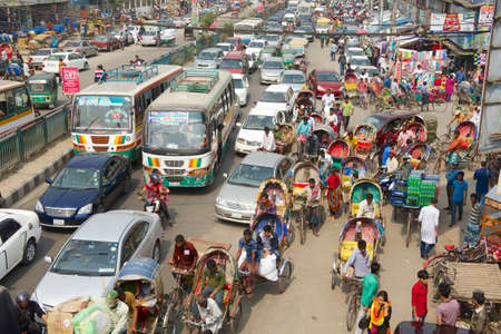 overpopulated: Dhaka, Bangladesh, February 22, 2014 - Traffic jam at the central part of the city in Dhaka, Bangladesh. Dhaka is one of the most overpopulated cities in the world.