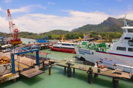 disembark: Donsak, Thailand - April 05, 2012 : Ferry port in Donsak in Surat Thani province, Thailand.