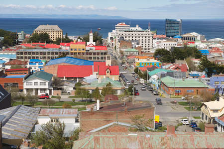 strait of magellan: Punta Arenas, Chile - October 28, 2013 : Scenic view of Punta Arenas and Magellan strait in Punta Arenas, Chile. It is the southernmost city on the planet with population over 100 thousand located on continent.