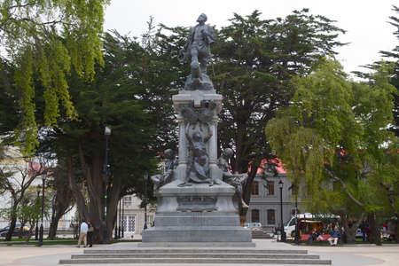 arenas: Punta Arenas, Chile - October 28, 2013 : Monument to Ferdinand Magellan in Punta Arenas, Chile.