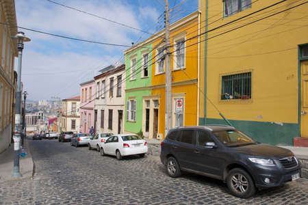 valparaiso: Valparaiso, Chile - October 19, 2013 : View to the colorful buildings located in the historical part of the Valparaiso city declared UNESCO World Heritage site in Valparaiso, Chile. Editorial