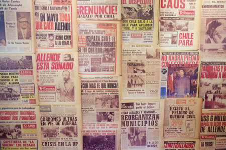 coup: Santiago, Chile - October 17, 2013 : Collage of the newspapers issued in 1973 during Chilean coup d\\
