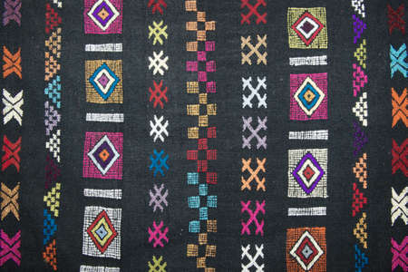 miao: Traditional carpet pattern of Black Miao (Hmong) minority, Sapa, Vietnam. Stock Photo