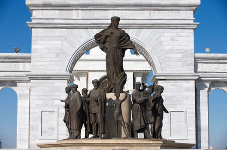 astana: Astana, Kazakhstan - September 25, 2011 : Exterior of the beautiful Kazakh Eli monument in Astana, Kazakhstan. Editorial