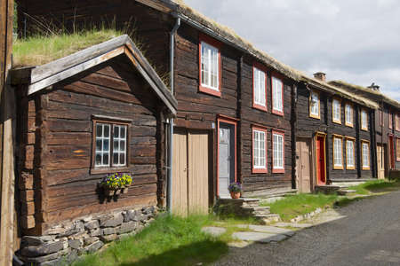 declared: Traditional houses of the copper mines town of Roros, Norway. Roros town is declared a UNESCO World Heritage site. Stock Photo