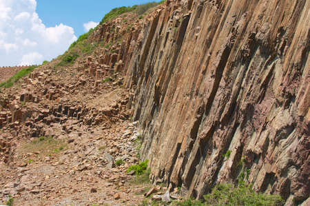 Hexagonal columns of volcanic origin at the Hong Kong Global Geopark in Hong Kong, China. photo
