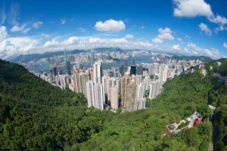 hong: Wide angle aerial view to the Hong Kong city, China.