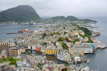 alesund: Aerial view to the Alesund city on a cloudy day, Alesund, Norway.