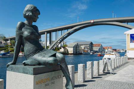Haugesund, Norway - June 05, 2010 : Exterior of the sculpture of Marilyn Monroe in Haugesund, Norway.
