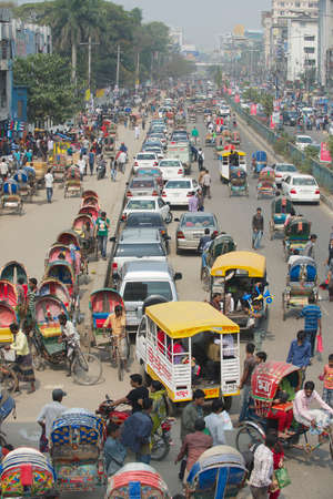 Dhaka, Bangladesh - February 22, 2014 : Busy traffic at the central part of the city in Dhaka, Bangladesh. Dhaka is one of the most overpopulated cities in the world. Editorial