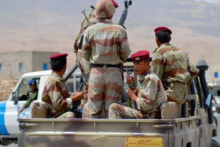 Hadramaut Valley, Yemen, September 10, 2006 - Yemeni military on duty at the security checkpoint, Hadramaut valley, Yemen.