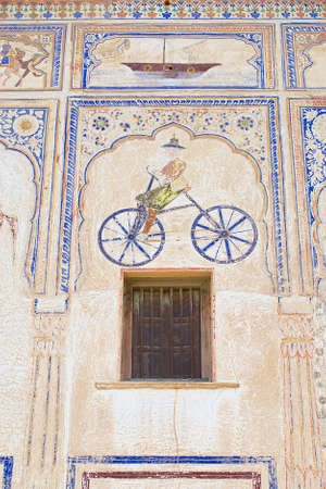 Mandawa, India - March 31, 2007 : Exterior wall paining detail of the haveli in Mandawa, India. Mandawa area has one of the largest concentration of frescos in the world.