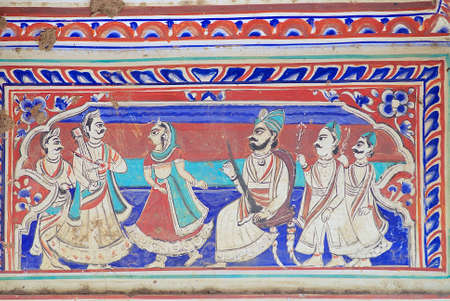 rajasthani painting: Mandawa, India - March 31, 2007 : Exterior wall paining detail of the haveli in Mandawa, India. Mandawa area has one of the largest concentration of frescos in the world.