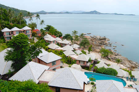 Koh Samui, Thailand - July 12, 2007 : View to a hotel at the shore of Koh Samui island in Koh Samui, Thailand.