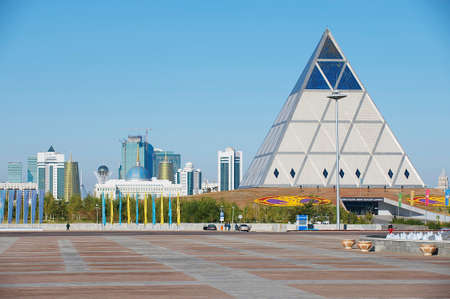 reconciliation: Astana, Kazakhstan - September 25, 2011 : Exterior of the Palace of Peace and Reconciliation building in Astana, Kazakhstan.