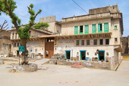 Mandawa, India - March 31, 2007 : Exterior of the haveli in Mandawa, India.