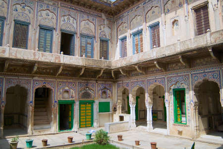 rajasthani painting: Mandawa, India - March 31, 2007 : Exterior of the haveli in Mandawa, India.