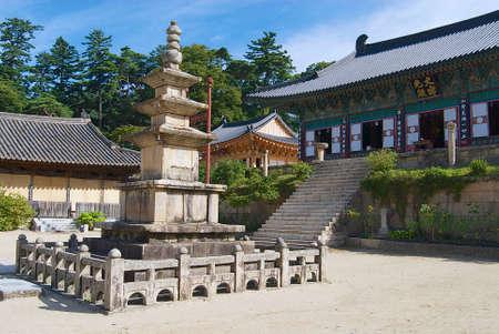 Beautiful Haeinsa temple exterior, South Korea. Jewel of Buddhist temples in Korea, home for the Tripitaka Koreana and a UNESCO World Heritage site.
