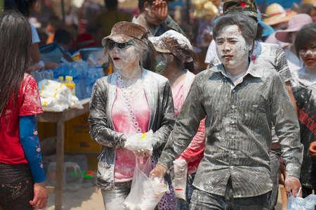 express positivity: Luang Prabang, Laos, April 13, 2012 - People celebrate Lao New Year in Luang Prabang, Laos. Editorial