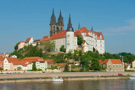 View to the Albrechtsburg castle and Meissen cathedral from across the Elbe river in Meissen, Germany.