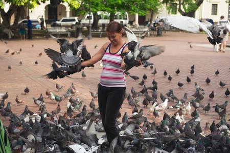 domingo: Santo Domingo, Dominican Republic, November 08, 2012 - Woman feeds pigeons in Santo Domingo, Dominican Republic. Editorial