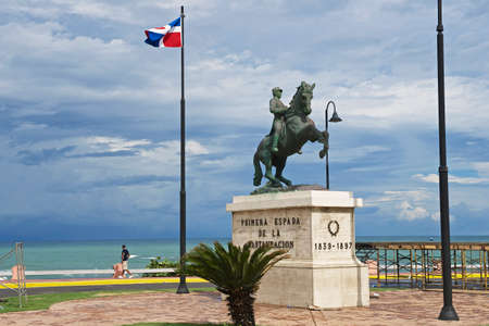 Puerto Plata, Dominican Republic - November 04, 2012 : Equestrian statue to the general Gregorio Luperon in Puerto Plata, Dominican Republic. Luperon was the 20th President of the Dominican Republic.