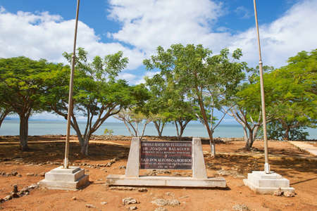 memorial plaque: Puerto Plata, Dominican Republic - November 03, 2012 : Memorial plaque at the ruins of La Isabella settlement in Puerto Plata, Dominican Republic. La Isabella was founded by Christopher Columbus in 1493.