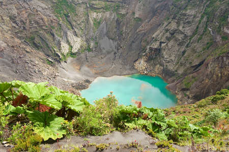 Crater of the Irazu active volcano situated in the Cordillera Central close to the city of Cartago, Costa Rica. Stock Photo