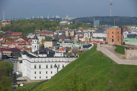 strategical: Vilnius Lithuania  May 04 2015 : View to the Gediminas hill and Vilnius city in Vilnius Lithuania.