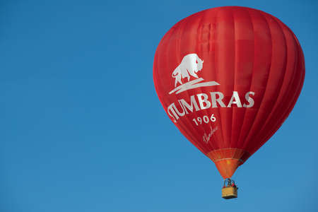 vilnius: Vilnius Lithuania April 30 2015  People fly with the hot air balloon in Vilnius Lithuania. Editorial