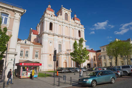 casimir: Vilnius Lithuania  May 05 2015 : Exterior of the St. Casimir church in Vilnius Lithuania.