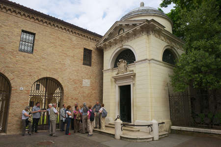 camillo: Ravenna Italy May December 2013 Tourists stand in front of the Dante39s Tomb a neoclassical structure built by Camillo Morigia in 1780 in Ravenna Italy.