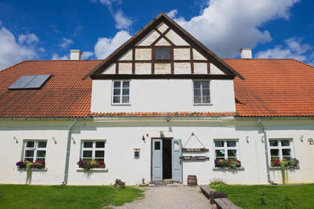 rundale: Pilsrundale, Latvia - July 27, 2015: Exterior of the traditional building in Pilsrundale, Latvia.
