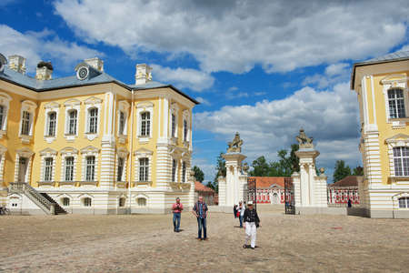 rundale: Pilsrundale, Latvia, July 27, 2015 - People explore Rundale palace in Pilsrundale, Latvia.