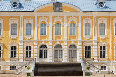 rundale: Pilsrundale, Latvia - July 27, 2015: Exterior of the Rundale palace facade in Pilsrundale, Latvia.