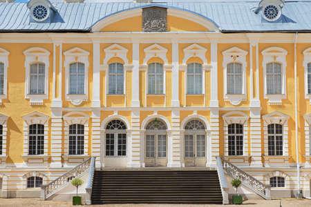 Pilsrundale, Latvia - July 27, 2015: Exterior of the Rundale palace facade in Pilsrundale, Latvia.