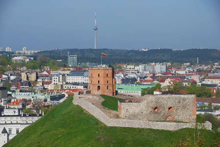 Vilnius, Lithuania - May 04, 2015: View to the Gediminas hill and Vilnius city in Vilnius, Lithuania.