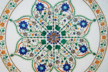 retro flowers: Agra, India - March 28, 2007: Exterior of the traditional floral marble design, produced by muslim Bharai community in Agra, India. Editorial