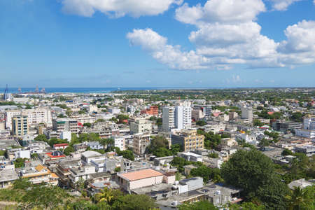 view on sea: View to the city of Port Louis, Mauritius.