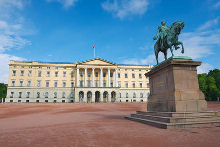karl: View to the Royal palace with statue of King Karl Johan at the foreground in Oslo, Norway. Editorial