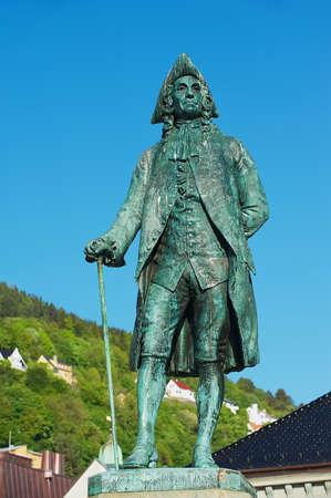 historian: Bergen, Norway - June 06, 2010: Exterior of the statue to Baron Ludvig Holberg in Bergen, Norway. He was was a writer, essayist, philosopher, historian born in Bergen, Norway, Editorial