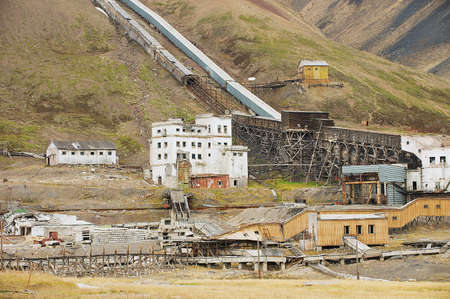 Pyramiden, Norway - September 03, 2011: View to the ruined coal mine in the abandoned Russian arctic settlement Pyramiden, Norway. Editorial
