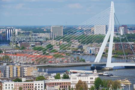 rotterdam: Rotterdam, Netherlands - June 02, 2013: Aerial view to Erasmus bridge and the city of Rotterdam, Netherlands.