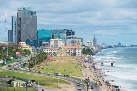 Colombo, Sri Lanka - May 17, 2011: View to the seaside in downtown Colombo, Sri Lanka. Editorial